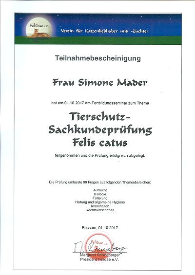 Breeder with verification proof after the Animal Protection Act Germany